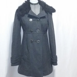 Anthro Tulle Dark Gray Pea Coat Jacket Faux Collar